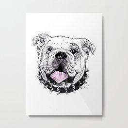 Bulldog with Pink Tongue Metal Print