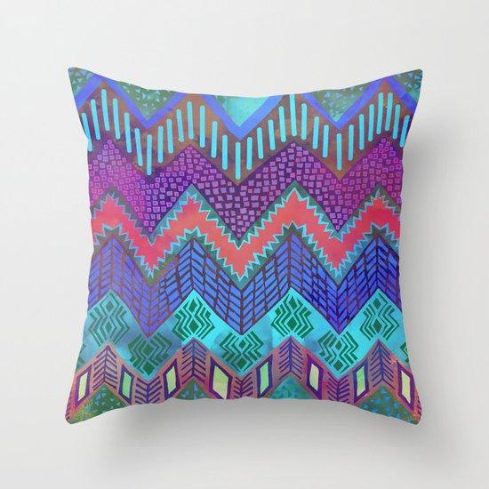 Tribal Chevron - Aqua Throw Pillow
