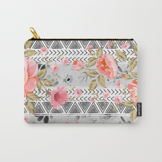 Pattern flowers with triangular shapes Carry-All Pouch
