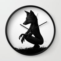 lady Wall Clocks featuring The Silent Wild by Ruben Ireland