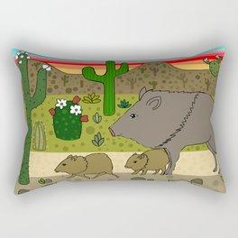 Javelinas in The Sonoran desert Rectangular Pillow