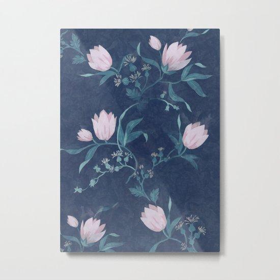 Pink tulips pattern on a dark background Metal Print