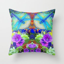 "BLUE ""ZINGER"" DRAGONFLIES  & PURPLE FLOWERS ART Throw Pillow"