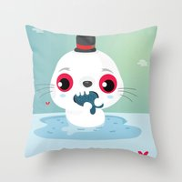 seal Throw Pillows featuring Seal by Maria Jose Da Luz
