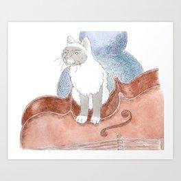 Cat on a Cello Art Print