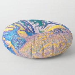 Paul Signac - Place des Lices, St. Tropez - Colorful Vintage Fine Art Floor Pillow
