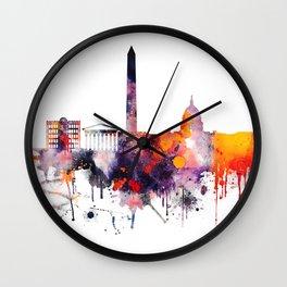 Colorful watercolor washington skyline Wall Clock