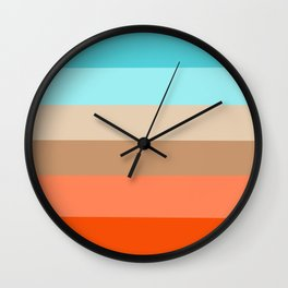 Modern orange aqua sand color block stripes Wall Clock
