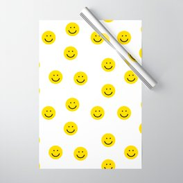 Smiley faces white yellow happy simple smiley pattern smile face kids nursery boys girls decor Wrapping Paper