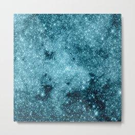 Teal Galaxy STars Metal Print