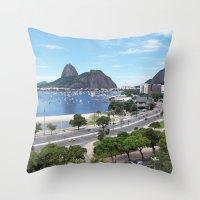 rio de janeiro Throw Pillows featuring Rio de Janeiro Landscape by Fernando Macedo