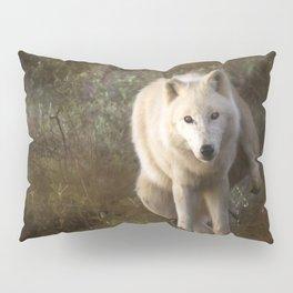 White wolf having a pee Pillow Sham