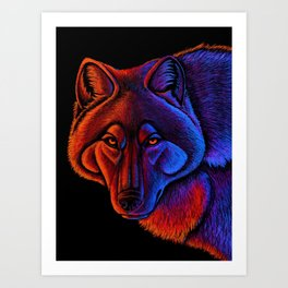 Fire Wolf Colorful Fantasy Animals Art Print