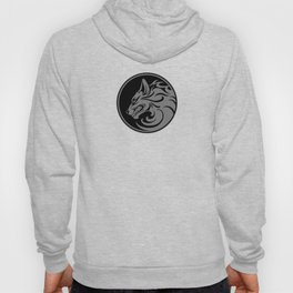 Gray and Black Growling Wolf Disc Hoody