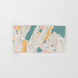Manhattan New York Map Art Hand & Bath Towel