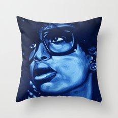 badu?!-blue Throw Pillow