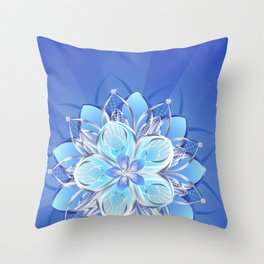 Abstract silver flower Throw Pillow