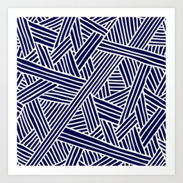 Abstract navy blue & white Lines and Triangles Pattern - Mix and Match with Simplicity of Life Art Print