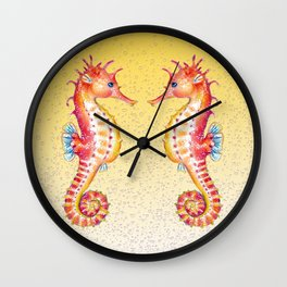 Seahorses Yellow Bubble Wall Clock