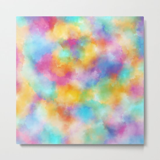 Watercolor Rainbow Abstract Art Metal Print