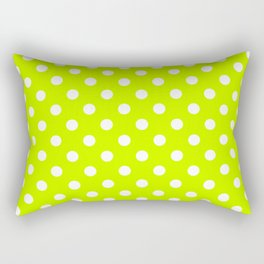 Small Polka Dots - White on Fluorescent Yellow Rectangular Pillow