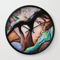 alone Wall Clocks featuring Alone by Amy V