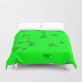 Green Skulls Duvet Cover