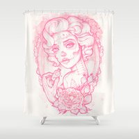 drink Shower Curtains featuring Drink Me by Satangelica