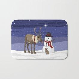 Santa's Reindeer Giving Snowman's Carrot Nose To Bunny Bath Mat