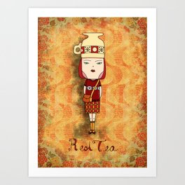 Red Tea Girl Art Print