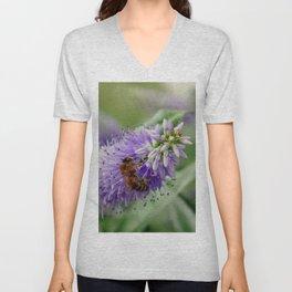 Bee Gathering Pollen on a Flower Unisex V-Neck