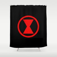 black widow Shower Curtains featuring Black Widow by Luca Draws