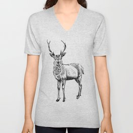 Deer illustration black and white Unisex V-Neck