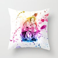 river song Throw Pillows featuring River Song Watercolor Mixed Media Digital Painting by Purshue