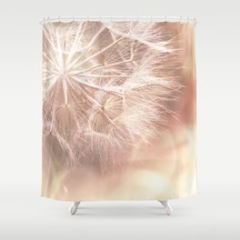Pink Macro (2) Dandelion Flower - Floral Nature Photography Art and Accessories Shower Curtain