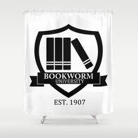 bookworm Shower Curtains featuring Bookworm University by bookwormboutique