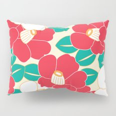 Japanese Style Camellia - Red and White Pillow Sham