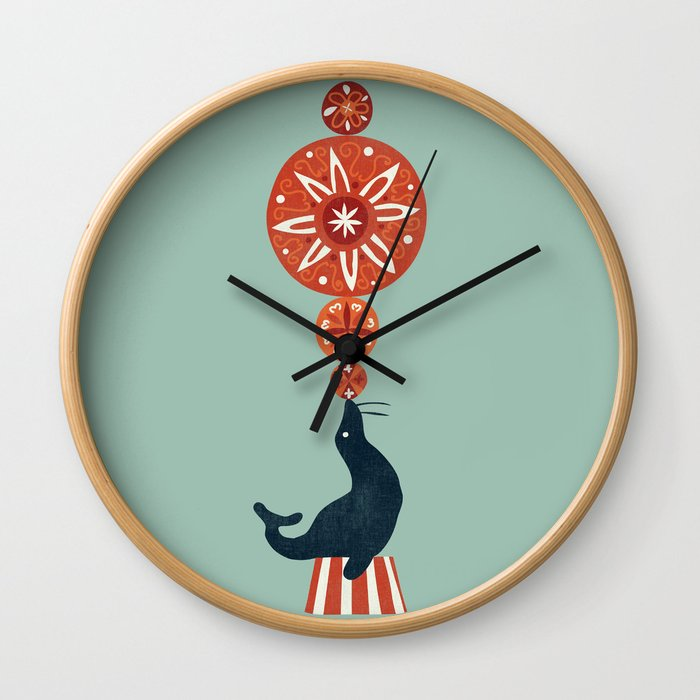 Circus Seal Wall Clock