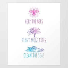 Environmental protection Bees and nature Art Print