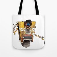 borderlands Tote Bags featuring Borderlands Claptrap Watercolour by DifficultyEasy