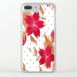 Floral seamless pattern with red flowers texture Clear iPhone Case