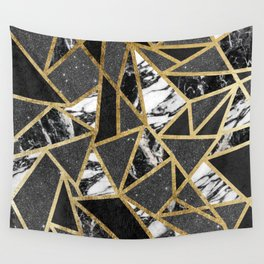 Modern Faux Gold Glitter Marble Geometric Triangle Wall Tapestry