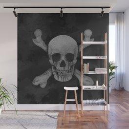 Jolly Roger Pirate Skull Grunge Wall Mural