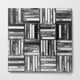 Music Cassette Stacks - Black and White - Something Nostalgic IV #decor #society6 #buyart Metal Print