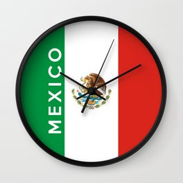 Mexico country flag name text Wall Clock