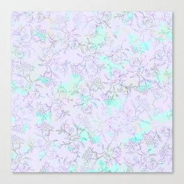 Modern lavender turquoise hand drawn watercolor botanical floral Canvas Print