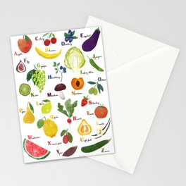English fruit and vegetables alphabet Stationery Cards