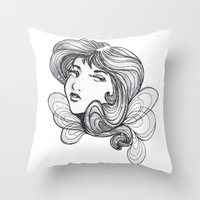 gray Throw Pillows featuring Gray by Virginia Skinner