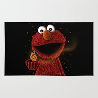 elmo Area & Throw Rugs featuring Elmo and Little Butterfly by Fathi