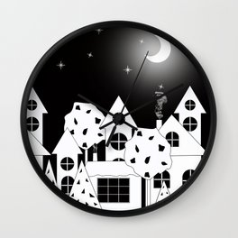 Fabulous houses, trees against the night sky. Wall Clock